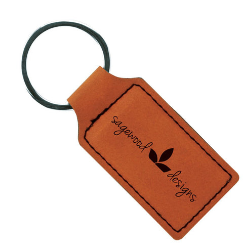 Leatherette Rectangle Keychains in Rawhide