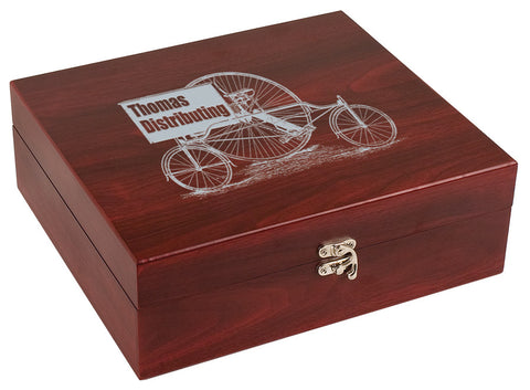 Martini Set in a Laser Engraved Rosewood Finish Box with Closed Box