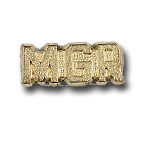 Manager Metal Chenille Letter Insignia with Optional Display Case, Pack of 25