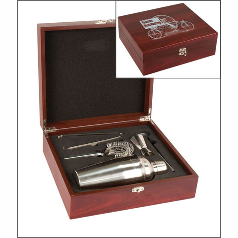Martini Set in a Laser Engraved Rosewood Finish Box