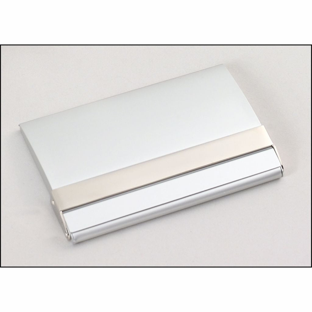 Matte Silver Business Card Case with Polished Silver Accent ...