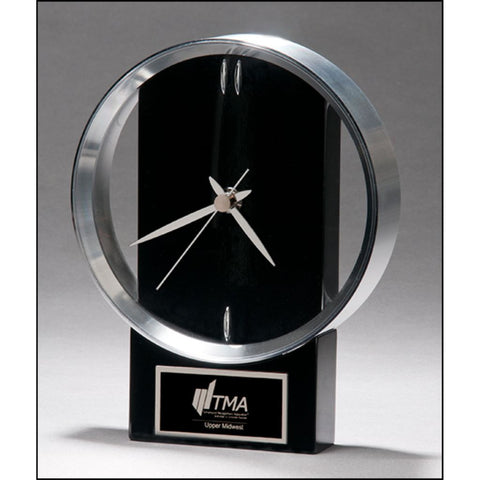 Modern Design Clock with Brushed Silver Bezel
