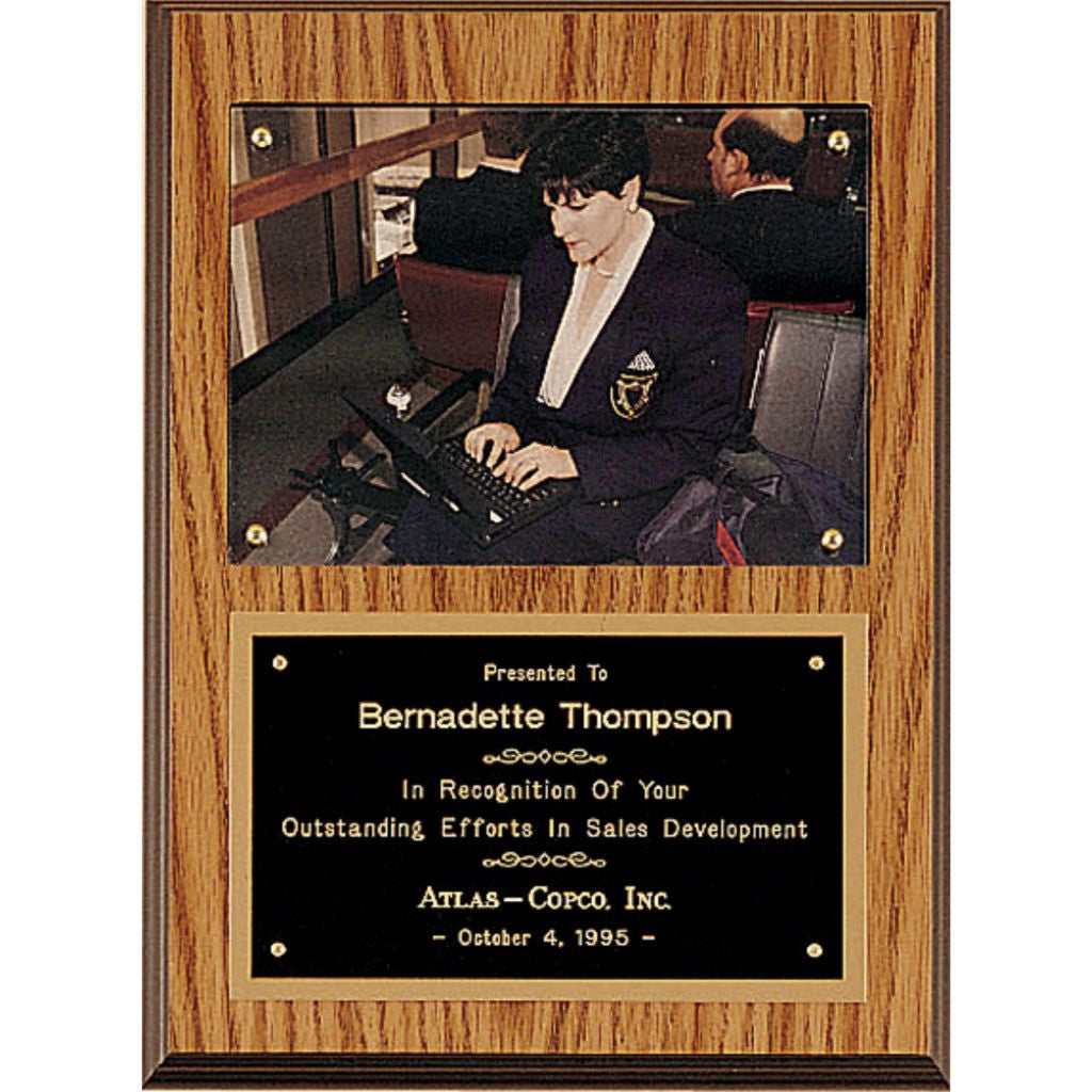 Oak Finish Photo Plaque with Black Brass Plate