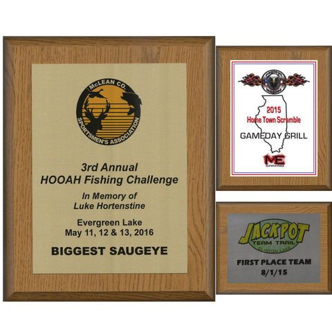 Oak Finish Plaque with Sublimated Aluminum Plate, 6 Sizes, 3 Plate Colors