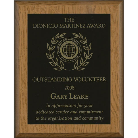 Oak Finish Plaque with Black Brass Plate, Outstanding Volunteer Award
