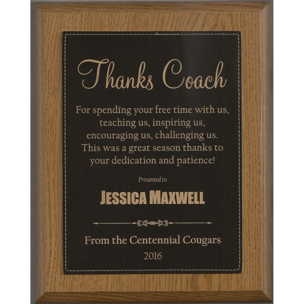 Oak Finish Plaque with Black Leatherette Plate, Coach Award