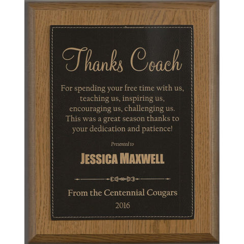 Oak Finish Plaque with Black Leatherette Plate, 4 Sizes