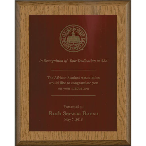 Oak Finish Plaque with Cherry Red Brass Plate, Graduation Award