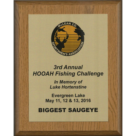 Oak Finish Plaque with Gold Aluminum Plate