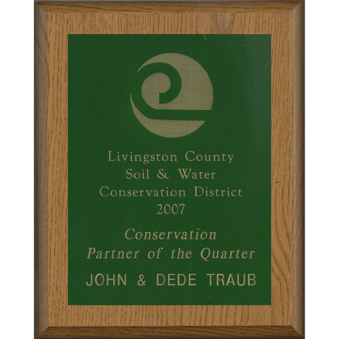 Oak Finish Plaque with Green Brass Plate