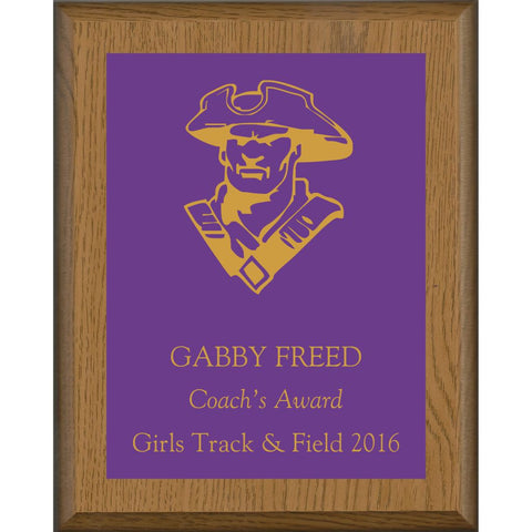 Oak Finish Plaque with Purple Brass Plate, Coach's Award