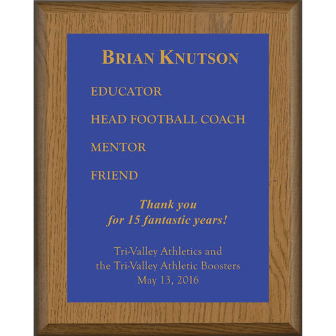 Oak Finish Plaque with Royal Blue Brass Plate, Coach Award