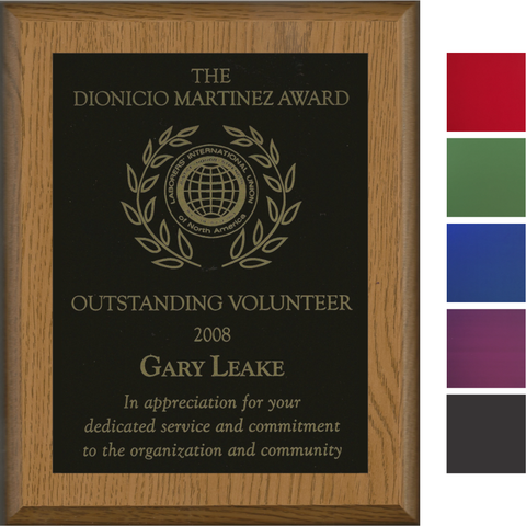 Oak Finish Plaque with Colored Brass Plate Cover Image