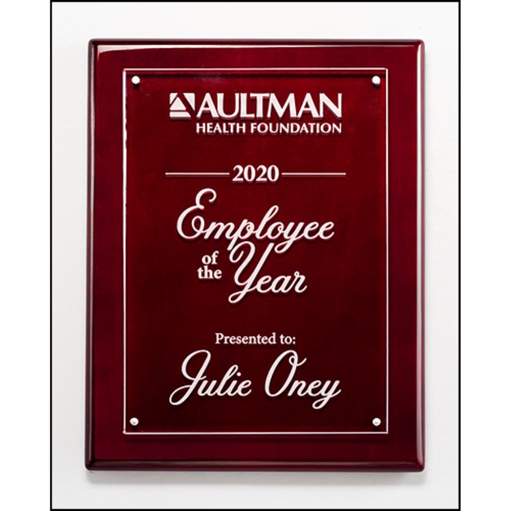 Rosewood High Gloss Piano Finish Plaque with Acrylic Engraving Plate, 3 Sizes