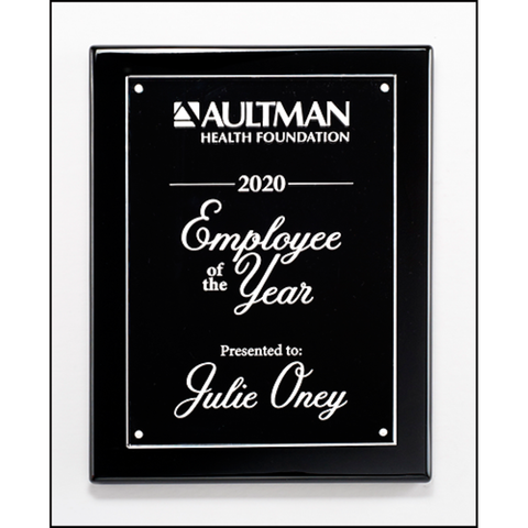 Black High Gloss Piano Finish Plaque with Acrylic Engraving Plate, 3 Sizes