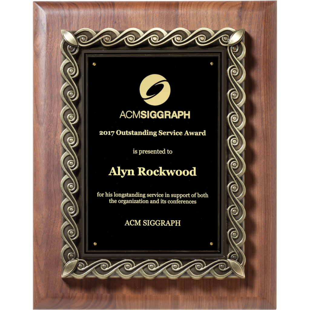 Solid American Walnut Plaque with Heavy Die Cast Plate Mount with Border, Service Award