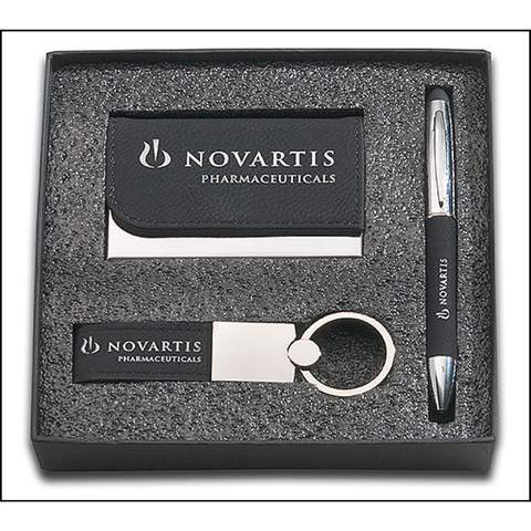 Black Leather 3 Piece Gift Set