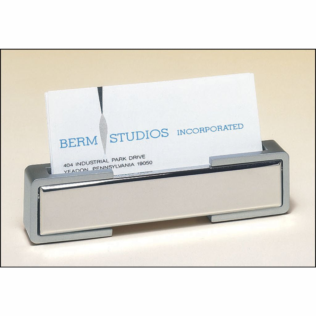 home products polished silver business card holder with matte silver accents - Silver Business Card Holder