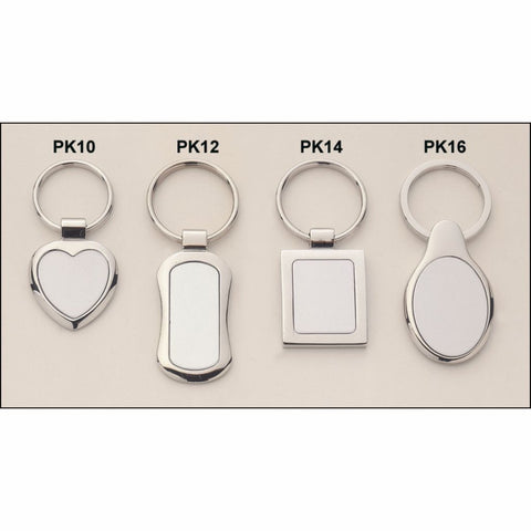 Polished Silver Keyring with Matte Silver Engravable Insert