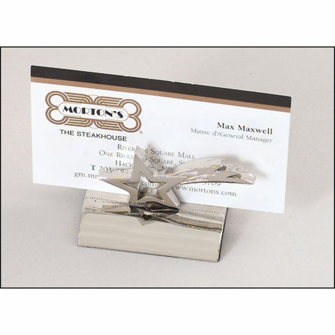 Polished Silver Star Business Card Holder
