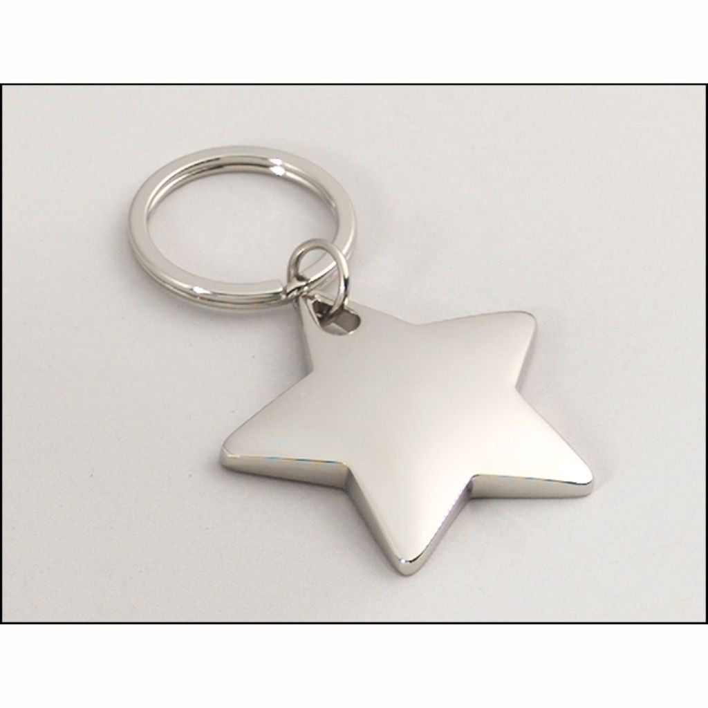 Polished Silver Star Keyring