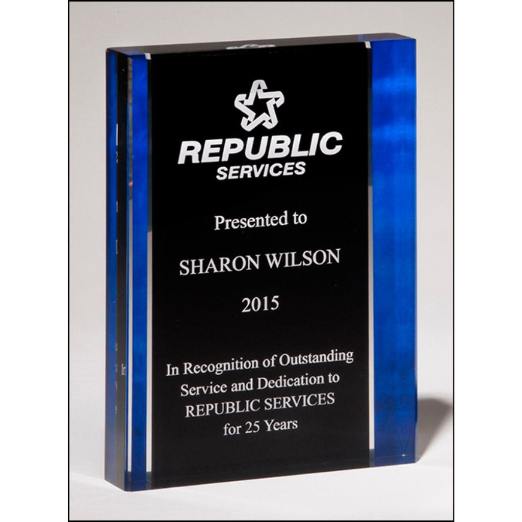 "Premium Series, 1"" thick acrylic with printed blue border, Service Award"