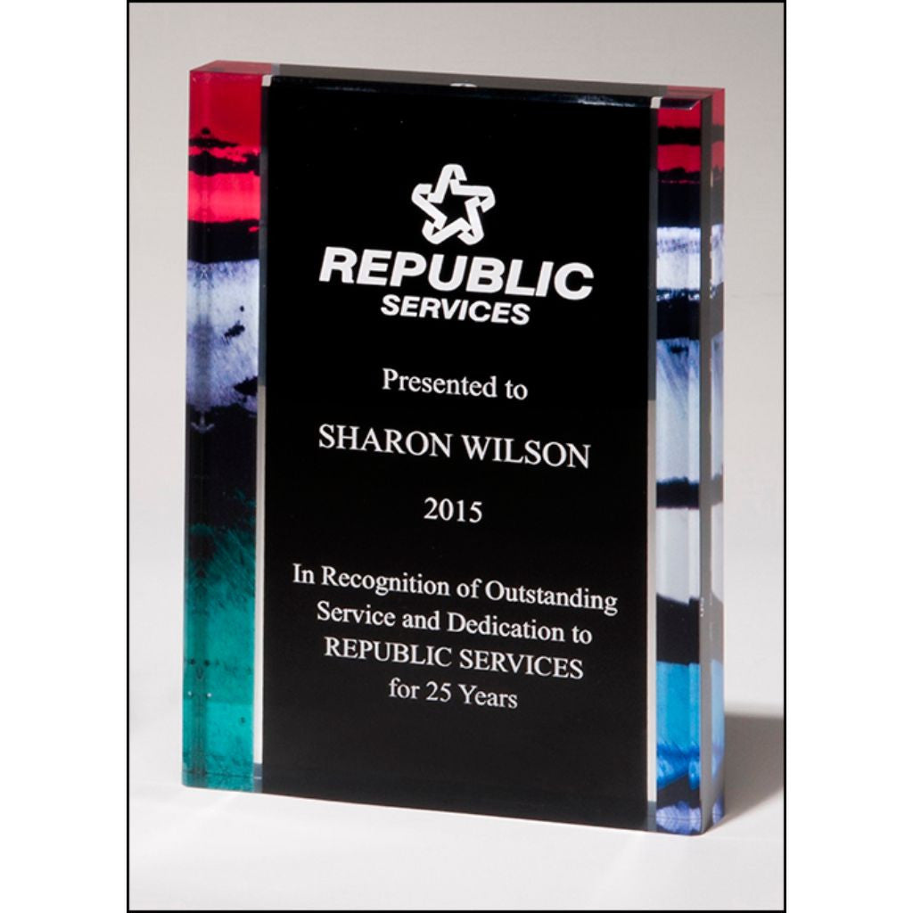 "Premium Series, 1"" thick acrylic with printed stained glass pattern border, Service Award"