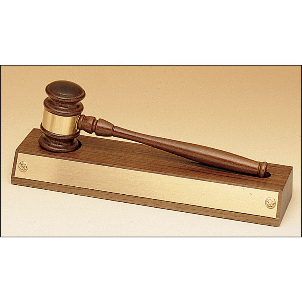 Removable gavel on an American walnut base