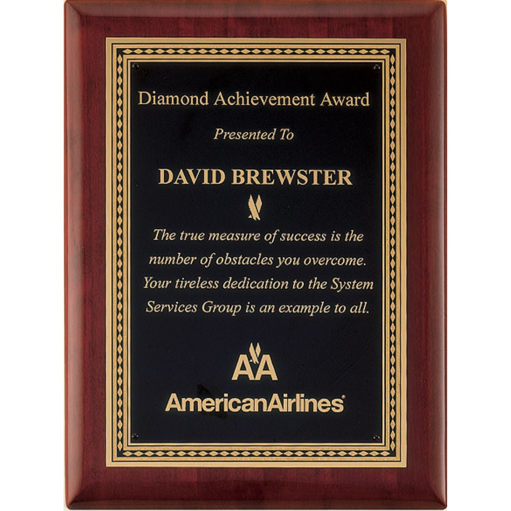 Rosewood Stained Piano Finish Plaque with Diamond Florentine Border, Achievement Award