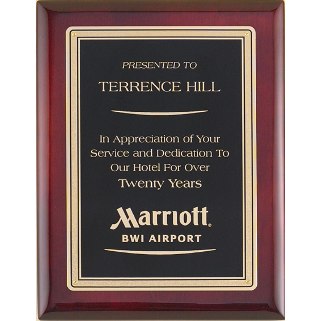 Rosewood Stained Piano Finish Plaque with Florentine Design Border, Service & Dedication Award