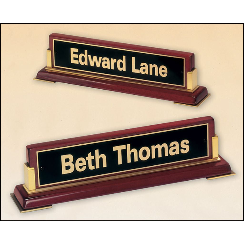 Rosewood stained piano finish nameplate