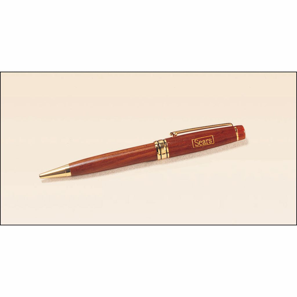Rosewood Finish Laser Engraved and Gold Paint Filled Pen
