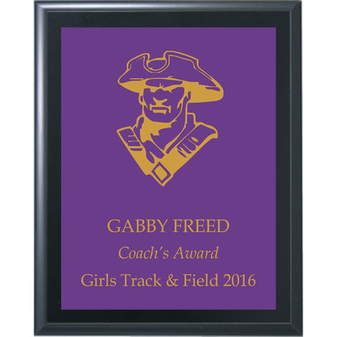 Black Matte Finish Plaque with Purple Brass Plate