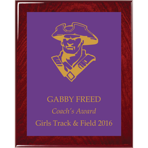 Rosewood Piano Finish Plaque with Purple Brass Plate