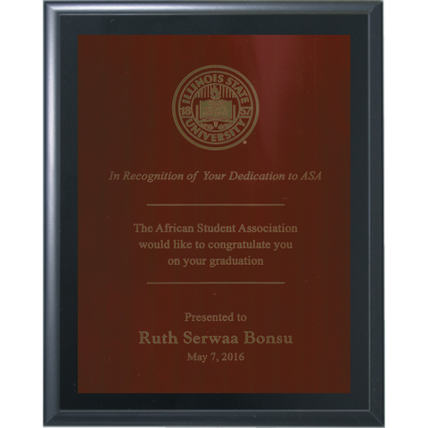 Black Matte Finish Plaque with Red Brass Plate