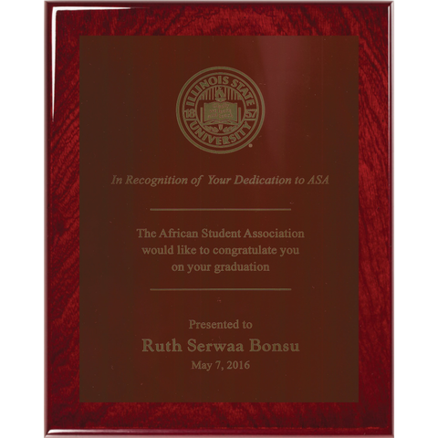Rosewood Piano Finish Plaque with Red Brass Plate