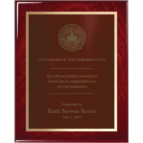 Rosewood Piano Finish Plaque with Red Brass Plate and Gold Shadow Plate
