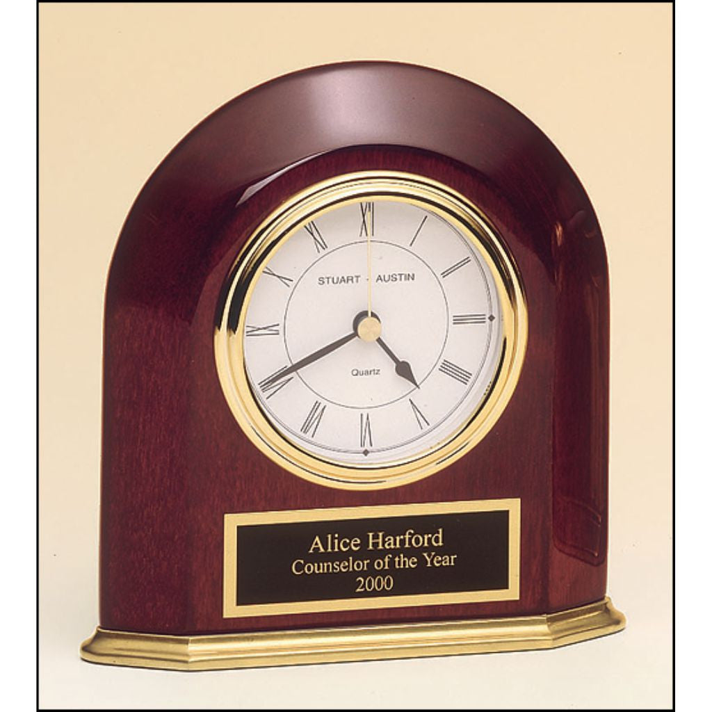 Rosewood stained piano finish arched table clock, Employee Award