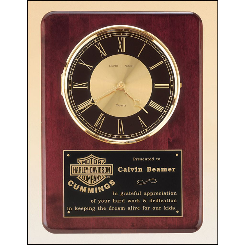 Rosewood stained piano finish vertical wall clock, Appreciation Award