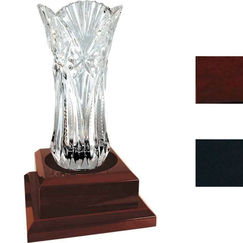 Royal Glass Vase on Royal Piano Finished Pedestal Base