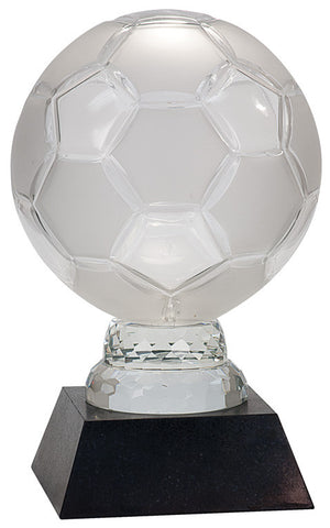 Glass Soccer Ball with Black Marble Base, 12""