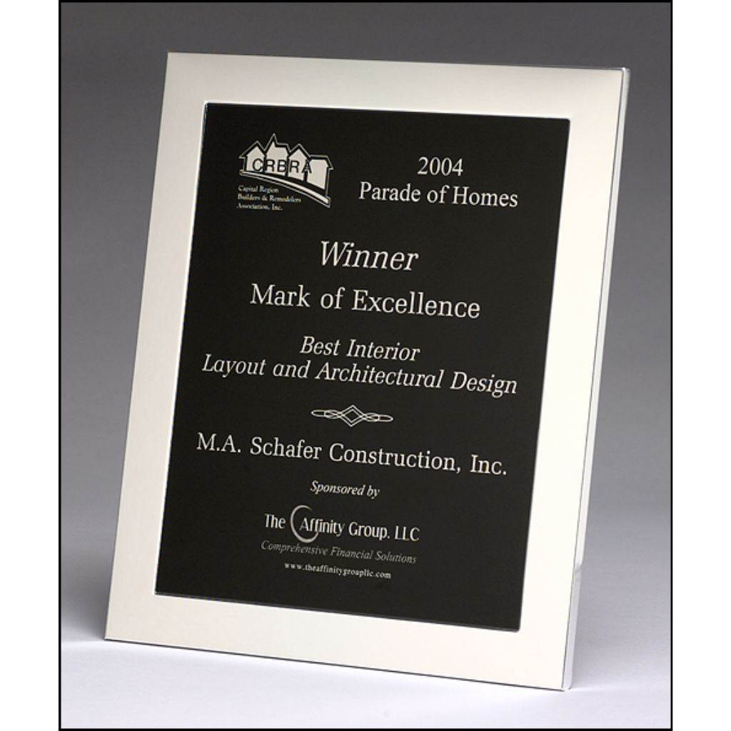 Silver Aluminum Picture Frame with Black Aluminum Plate, Excellence Award