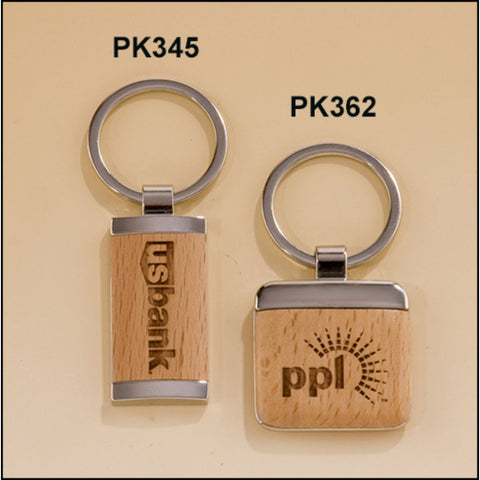 Silver Keyrings with Maple Wood Inserts