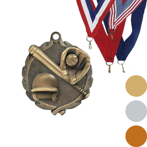 Softball Wreath Medal, 1 3/4""