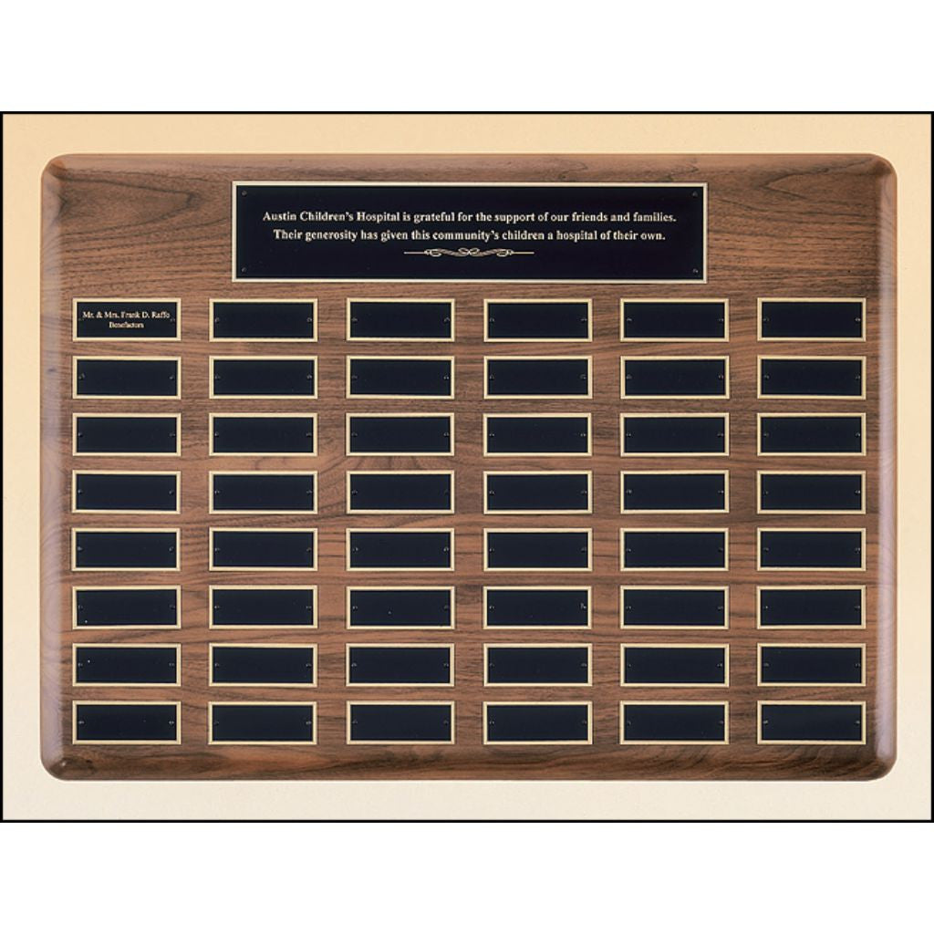 Solid American Walnut Eliptical Large Perpetual Plaque with Large Black Brass Plates, Donor Plaque