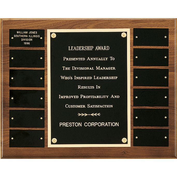 Solid American Walnut Perpetual Plaque with Center and Black Brass Plates, Leadership Award