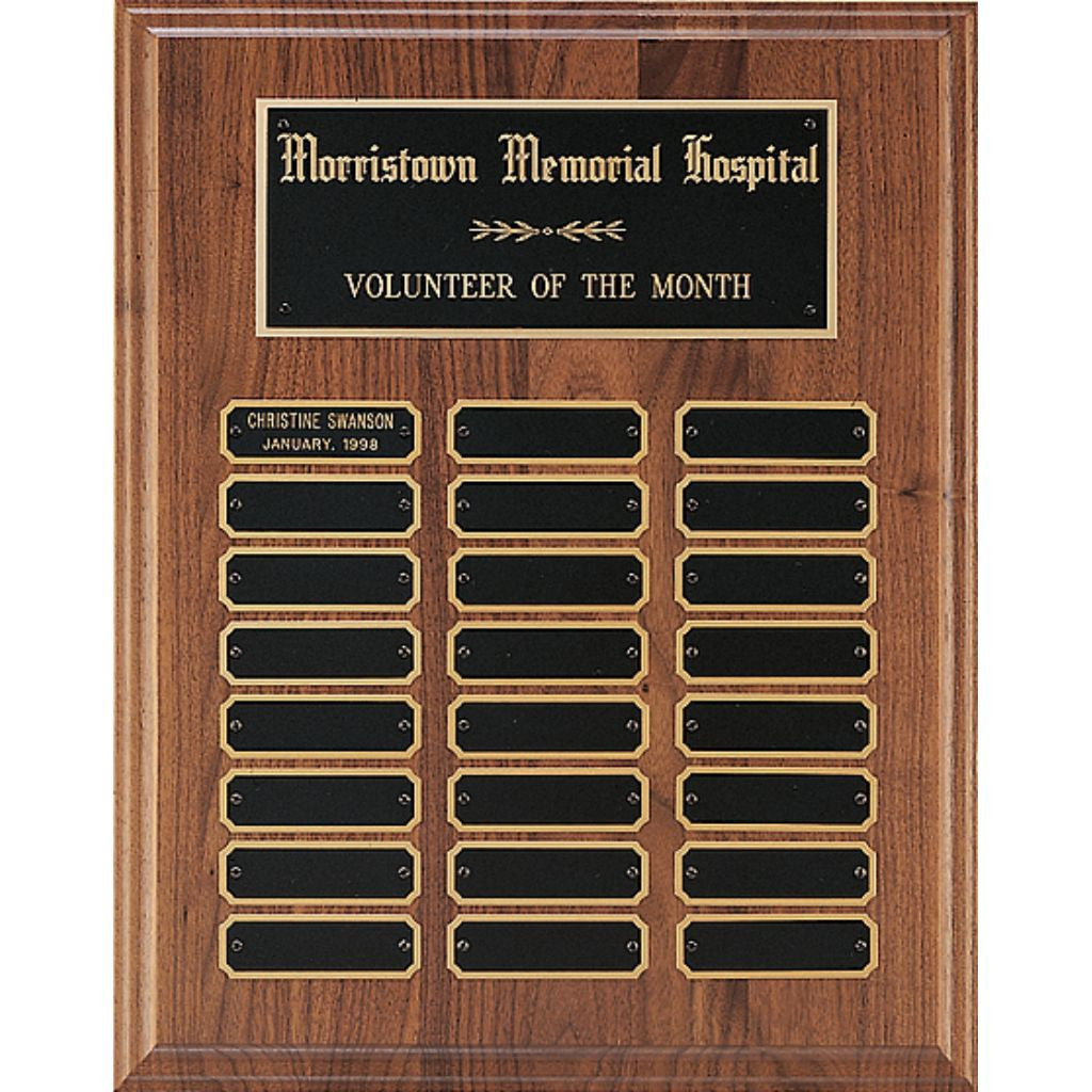 Solid American Walnut Perpetual Plaque with Notched Black Brass Plates, Volunteer Award