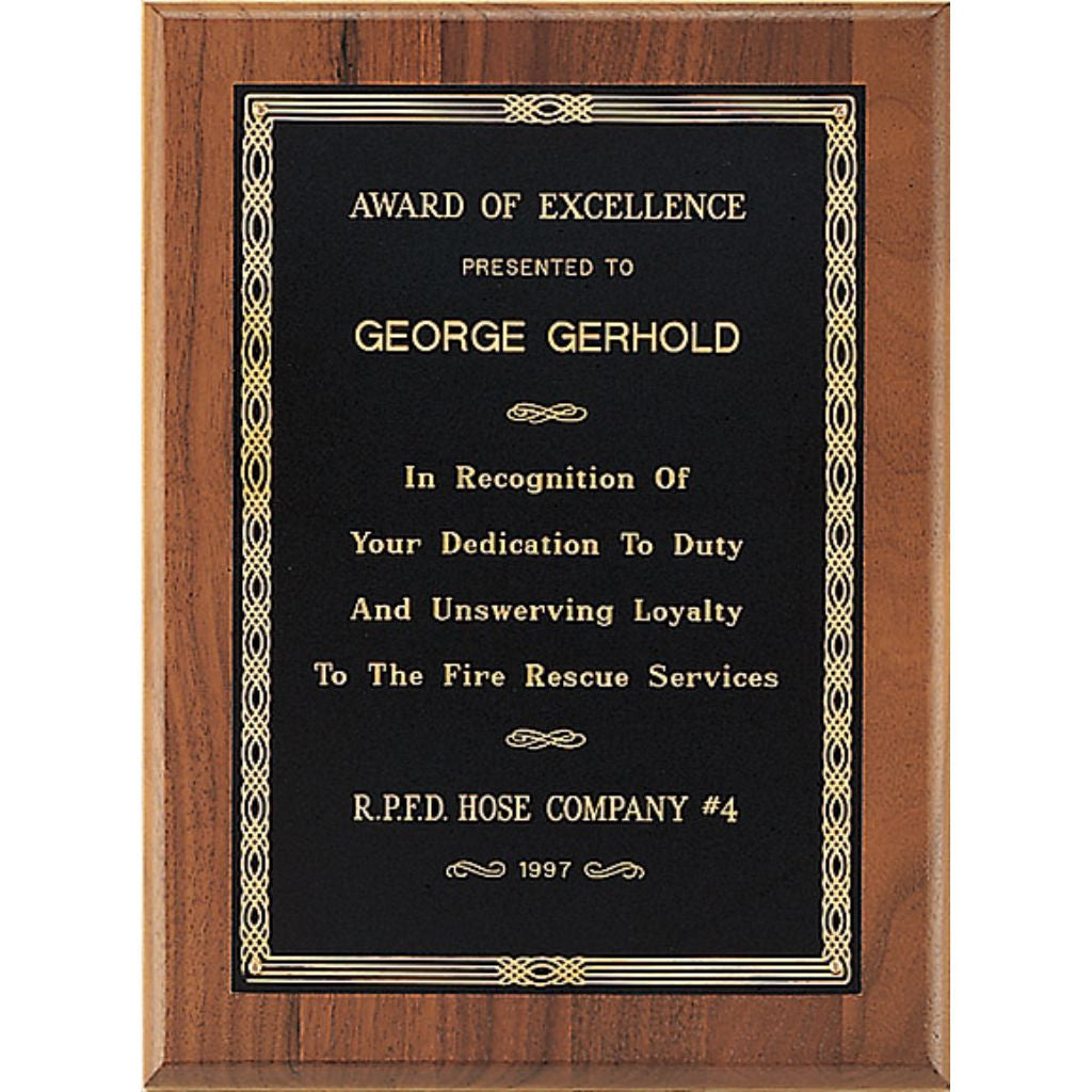 Solid American Walnut Plaque with a Braided Bordered Black Brass Plate, Excellence Award