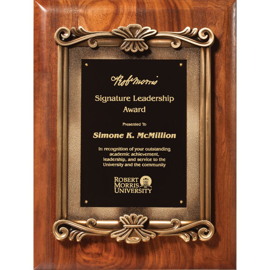Solid American Walnut Plaque with Heavy Die Cast Plate Mount, Leadership Award
