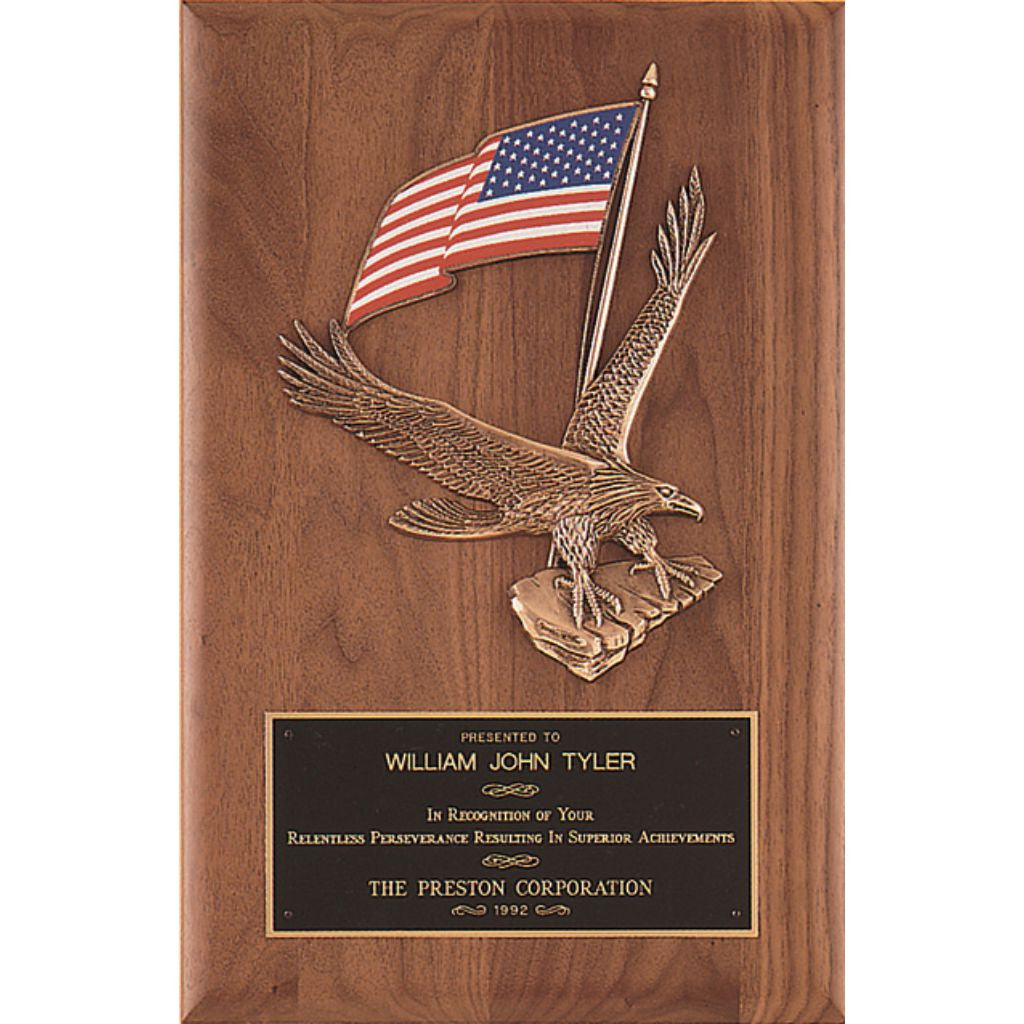 Solid American Walnut Plaque with Eagle and American Flag Casting, Achievement Award